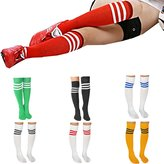 JJ Store Womens Stripe Knee High Athletic Soccer Rugby Football Sport Tube Socks