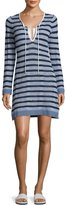 Tommy Bahama Linen-Blend Striped Tunic Sweater Coverup, White Pattern