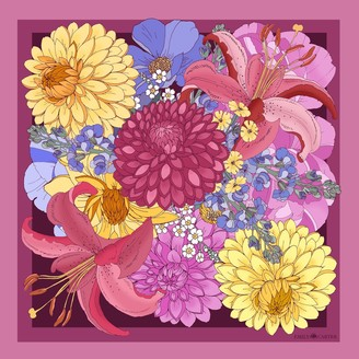 Dahlia The Bouquet Silk Scarf - Cerise