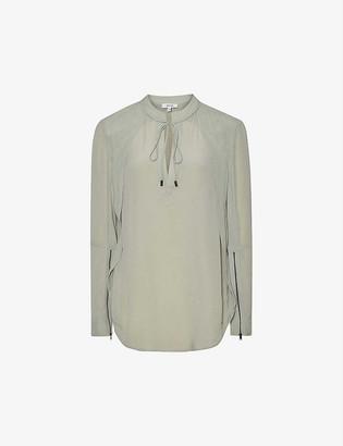 Reiss Frances zipped-cuff silk-blend blouse
