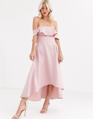 Chi Chi London bardot prom skater dress in mink-Pink
