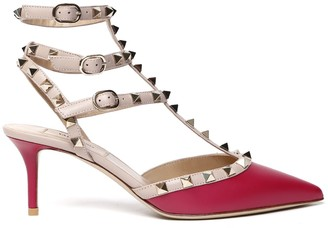 Valentino Pink Raspberry Leather Rockstud Decollete With Straps