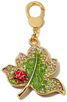 "JAY Jay Strongwater ""Delightful"" Multicolor Enamel and Crystal Goldtone Leaf and Ladybug Charm"
