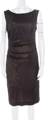 Catherine Malandrino Black Tulle Overlay Ruched Sleeveless Dress M