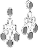 John Hardy Sterling Silver Bamboo Chandelier Earrings with Grey Moonstone