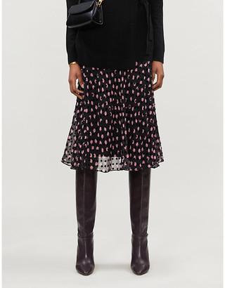 Diane von Furstenberg Molly printed devore silk-blend chiffon midi skirt
