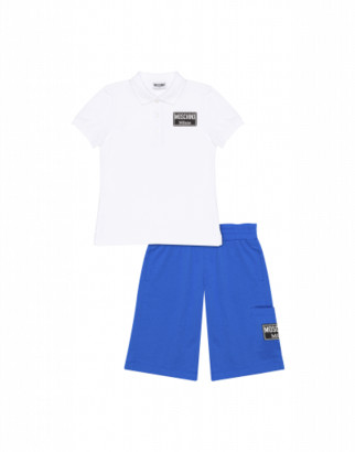 Moschino Label Shorts And Polo Shirt Combination Man White Size 4a It - (4y Us)