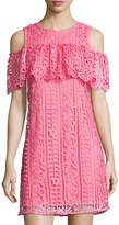 Neiman Marcus Cold-Shoulder Lace Shift Dress, Watermelon