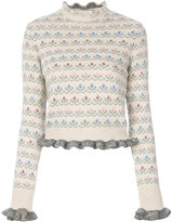 RED Valentino frill trim floral jumper - women - Acrylic/Wool/Virgin Wool - XS