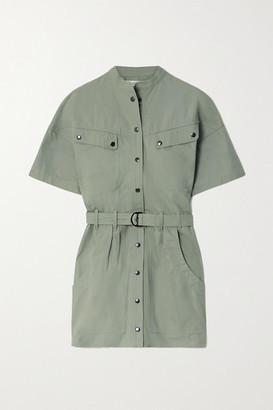 Etoile Isabel Marant Zolina Belted Cotton Mini Dress - Army green