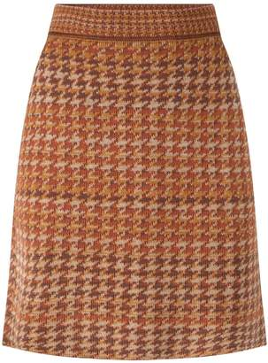 Studio Myr Knitted Knee Length Pencil Skirt In Pieds-De-Poule Pattern Tweed-Ginger