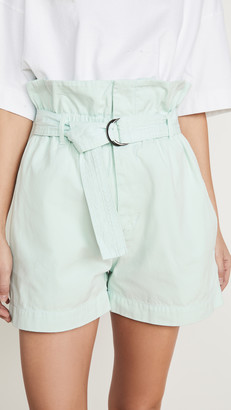 Bassike Canvas Belted Paper Bag Shorts