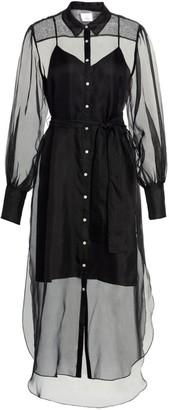 Cinq à Sept Elian Sheer Puff-Sleeve Silk Midi Dress