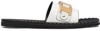 Prada Sawtooth Detail Flat Sandals