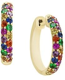 Bloomingdale's Multi Sapphire Hoop Earrings in 14K Yellow Gold - 100% Exclusive