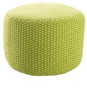 Jaipur Living Viridis Green Solid Square Indoor/ Outdoor Pouf