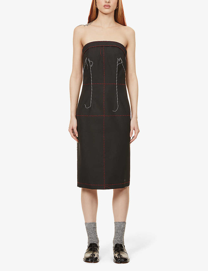 Maison Margiela Deconstructed wool and mohair-blend midi dress