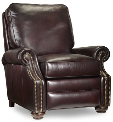 """Thumbnail for your product : Bradington-Young 36"""" Wide Genuine Leather Manual Standard Recliner Body Fabric: Outsider Raven, Leg Color: Mahogany, Nailhead Detail: Natural"""