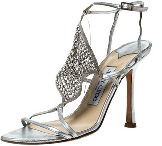 Jimmy Choo Metallic Silver Leather Embellished Ankle Strap Sandals Size 37