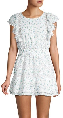 LoveShackFancy Roberta Floral Ruffle Mini A-Line Dress