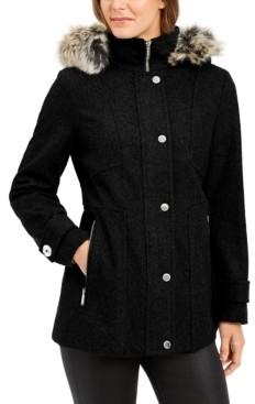 London Fog Zip-Front Faux-Fur-Trim Hooded Coat