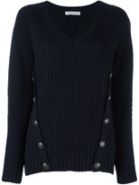 Pierre Balmain button detail ribbed jumper - women - Acrylic/Wool - 38