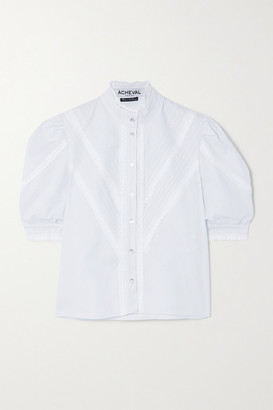 ÀCHEVAL PAMPA Pleated Lace-trimmed Stretch-cotton Poplin Blouse - White