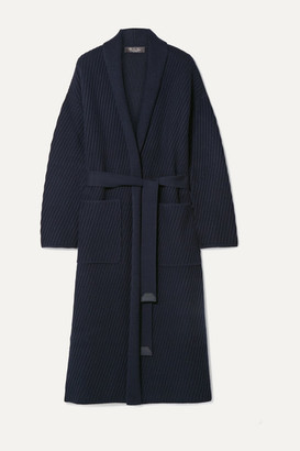 Loro Piana Belted Ribbed Cashmere Cardigan - Midnight blue