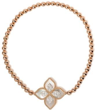 Roberto Coin 18kt rose gold diamond Princess Flower bead bracelet