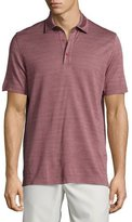 Ermenegildo Zegna Horizontal-Herringbone Short-Sleeve Polo Shirt, Red