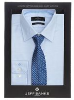 Jeff Banks Big And Tall Light Blue Dogtooth Tailored Fit Shirt And Blue Teardrop Tie Set