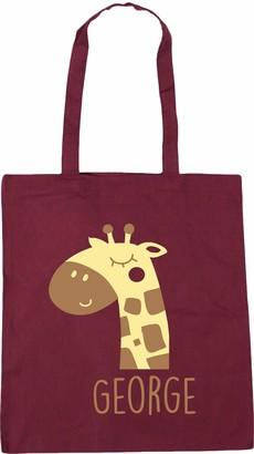 Hippowarehouse PERSONALISED name baby giraffe Tote Shopping Gym Beach Bag 42cm x38cm 10 litres