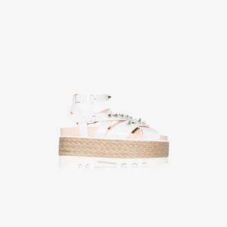 Simone Rocha White 80 Embellished Leather Espadrille Flatform Sandals