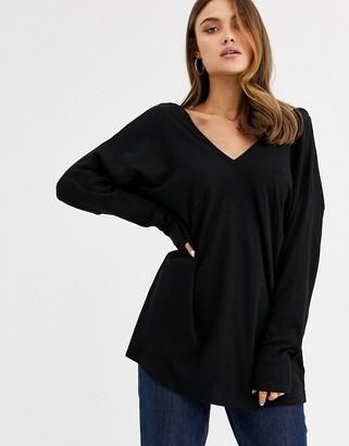 Asos DESIGN oversized v neck batwing sleeve top in black