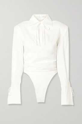 TRE by Natalie Ratabesi Tie-detailed Ruched Cotton-blend Poplin Thong Bodysuit - White