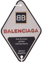 Balenciaga Silver and Navy Diamond Stamp Badge Brooch