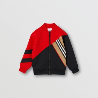 Burberry Icon Stripe Detail Stretch Jersey Track Top