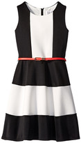 Us Angels Scuba Tank Dress w/ Color Block & Full Skirt (Big Kids)