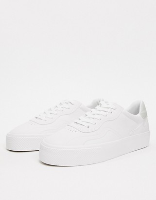 Bershka chunky sole white trainer with contrast back panel