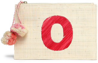 Kayu Pompom-embellished Embroidered Straw Pouch