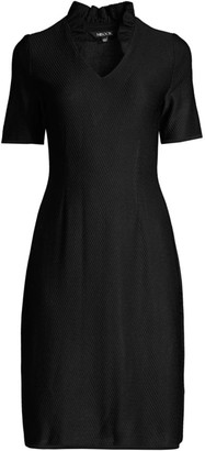 Misook Ruffle-Neck Sheath Dress