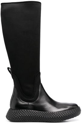 Emporio Armani Stretch-Fit Panelled Boots