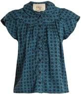 Ace&Jig Monet ruffle-sleeved geometric-jacquard cotton top