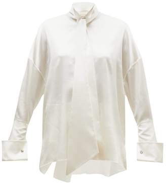 Alexandre Vauthier Musketeer-cuff Satin Blouse - Womens - Ivory