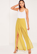 Missguided Chiffon Split Front Palazzo Pants Chartreuse Green