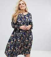 Alice & You Long Sleeve Floral Midi Dress With Frill Sleeve And Tie Neck