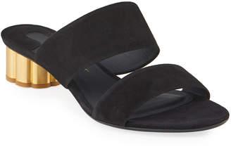 Salvatore Ferragamo Two-Band Suede Slide Sandals