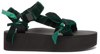 Arizona Love Trekky Velvet-strap Platform Sandals - Dark Green