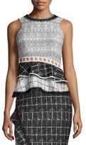 Jonathan Simkhai Ruffle-Trim Space-Dyed Peplum Top, White/Black