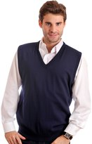 Braga Men's V-Neck Sleeveless Pullover Vest Sweater.Fine 100% Merino Wool.Made in Canada.FREE Size Customization/Adjustment - a New Concept. Ask us !